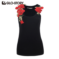 GLO STORY Summer Tank Top Women 2017 Casual Embroidery Floral Sleeveless Sexy Black Skinng Shirt Top