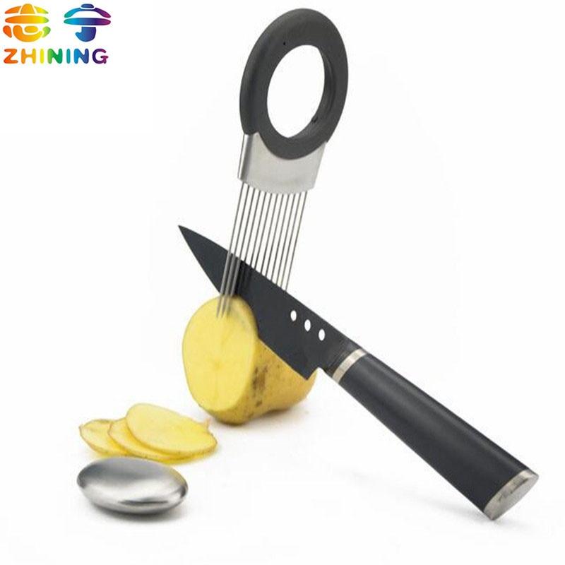 ステンレス鋼オニオンジャガイモカッターでステンレス鋼石鹸キッチンアクセサリー新しいクッキングツール送料無料