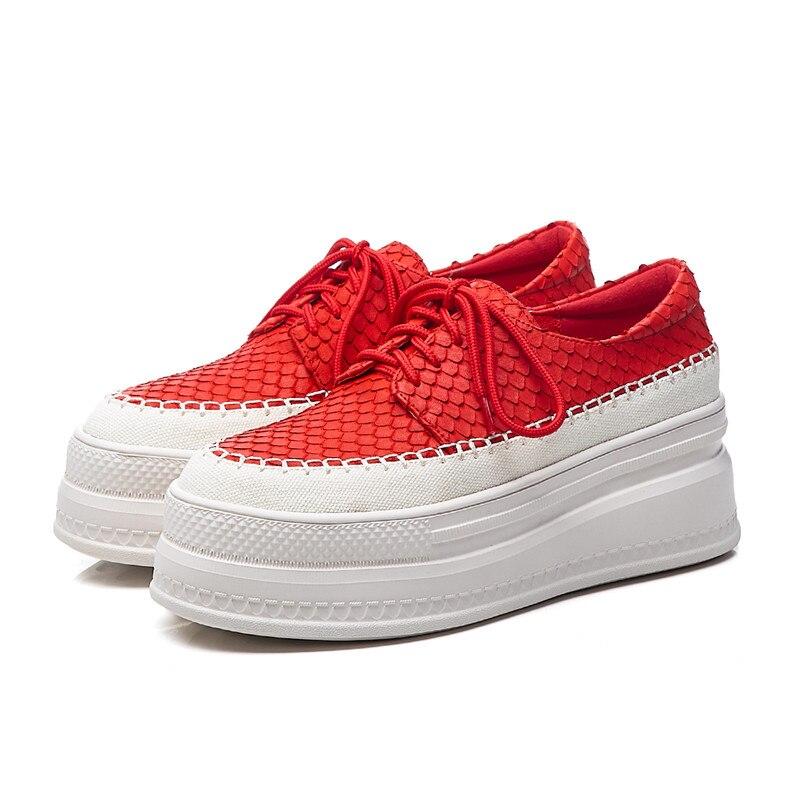 Genuino Del Pie Cuero Negro De Plataforma Otoño Mujer Caliente Dedo rojo Planos Nueva 2019 Venta Primavera Zapatos Redondo Pisos Masgulahe ZzwFU1qU