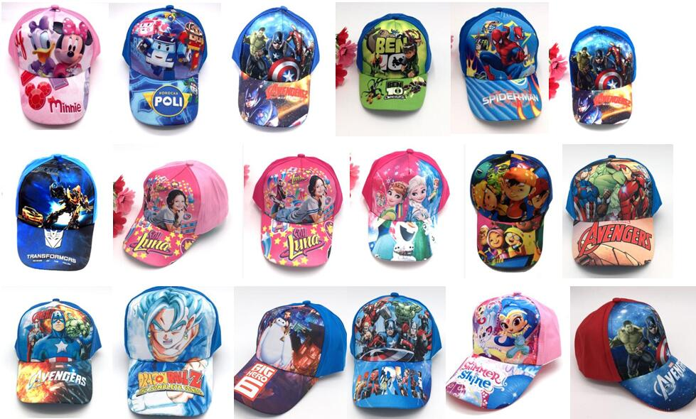 1pcs Cartoon Mickey Minnie Princess Avengers Mix Boy Girl Fashion Sun Hat Mario Casual Cosplay Baseball Cap Children Party Gifts Excellent (In) Quality