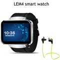 Lem4 android os bluetooth smart watch mtk6572 dual core apoyo nano tarjeta SIM Wifi GPS mapa de Seguimiento Inteligente DZ09 Reloj KW18 PK