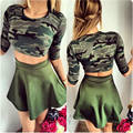 2016 Summer women Suit Camouflage Women Set Costume 2 Pieces ( Sexy Tops & Skirt) Cute Sexy Women Tracksuit Traje deportivo