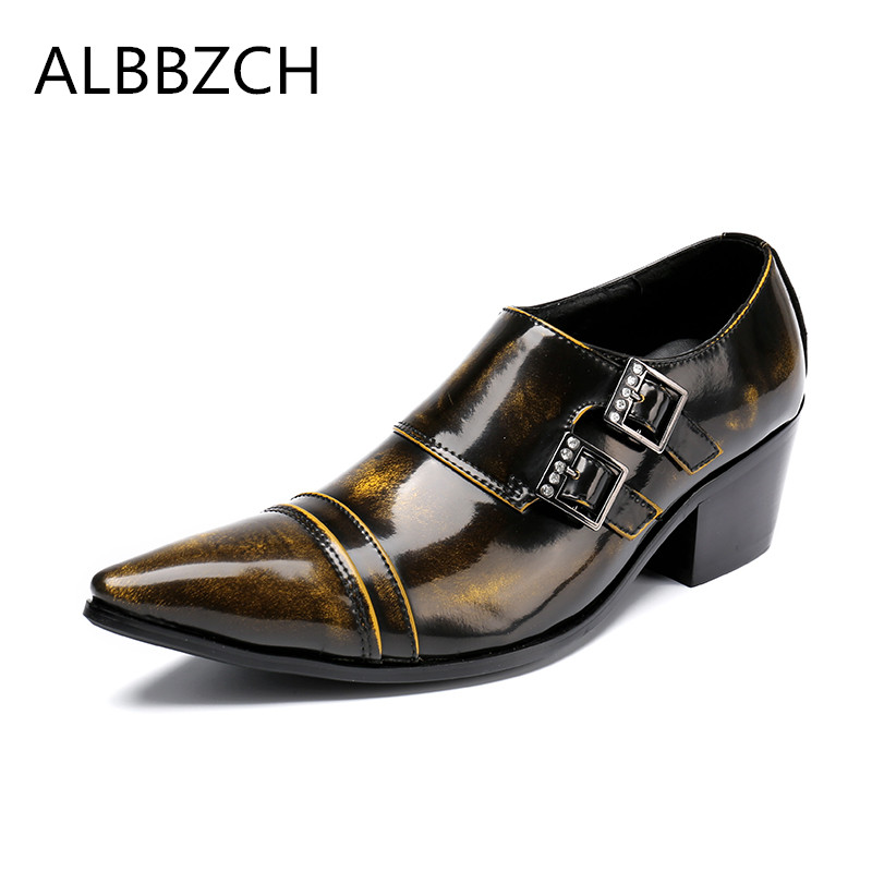 New mens patent leather dress shoes high heels men oxford pointed toe buckle design retro wedding shoes man big yards 44 45 46