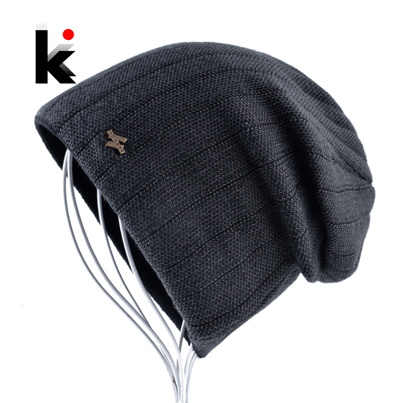 Winter Knitted   Beanie   Hat For Man Double Layer Warm Kniting Striped Bonnet Caps Male Thick Add Velvet   Skullies     Beanies   Men Gorro
