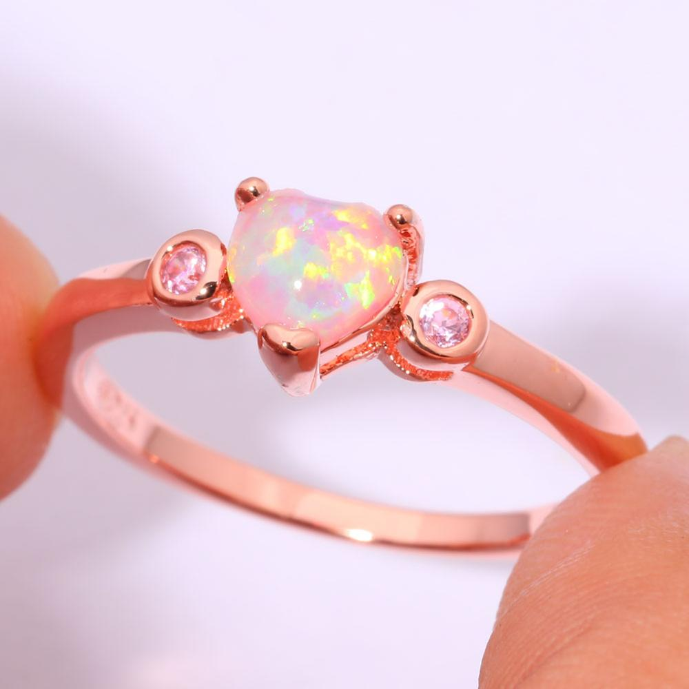 CiNily Created Pink Fire Opal Pink Zircon Rose Gold Color Wholesale ...