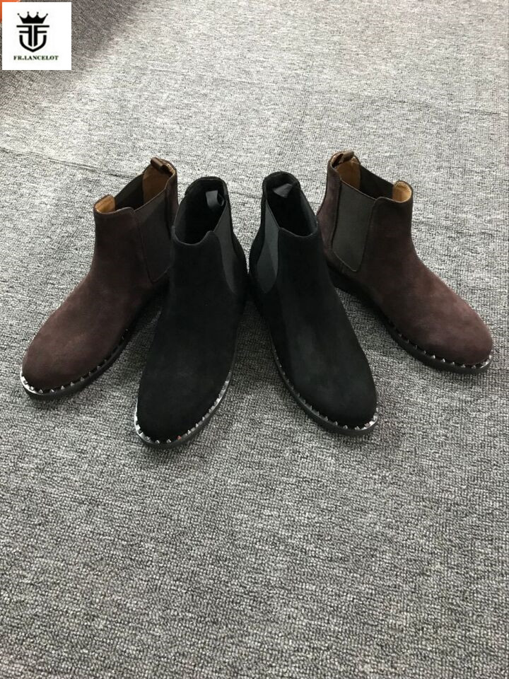 FR.LANCELOT 2017 fashion pointed toe men suede leather boots Vintage Style men fashion boots mujer bota spike stud booties