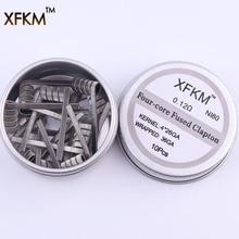 XFKM NI80 высокая плотность Clapton готовые катушки для электронной сигареты RDA RTA RBA атомайзер мод нагревательный провод