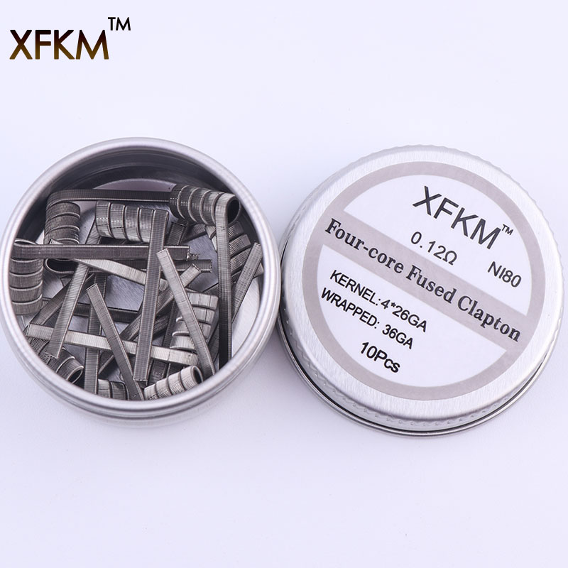 NEW XFKM NI80 High Density Clapton Prebuilt Coils Premade Coil for Electronic Cigarette RDA RTA RBA Atomizer Mod Heating Wire demon killer violence coil 7 in 1 coil prebuilt coils alien v2 tsuka coil clapception framed clapton for rda rba atomizer tank