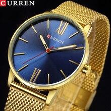 Часы Curren Мужские кварцевые, модные простые наручные, с браслетом из нержавеющей стали, золотистые