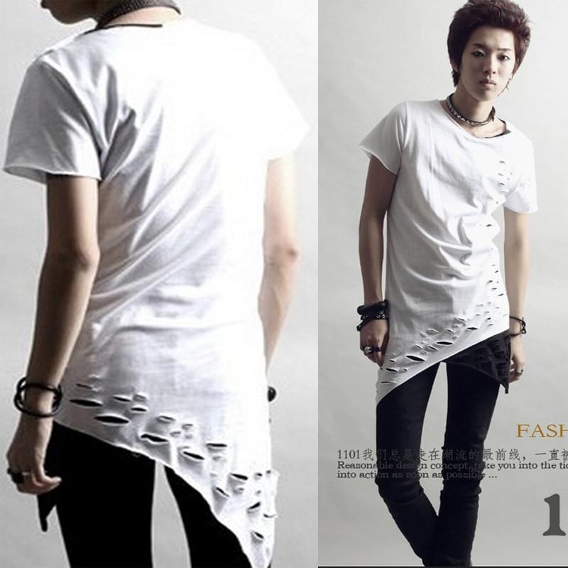 New avant garde design edgy unbalance slant cut mens slim for Cut shirts for men