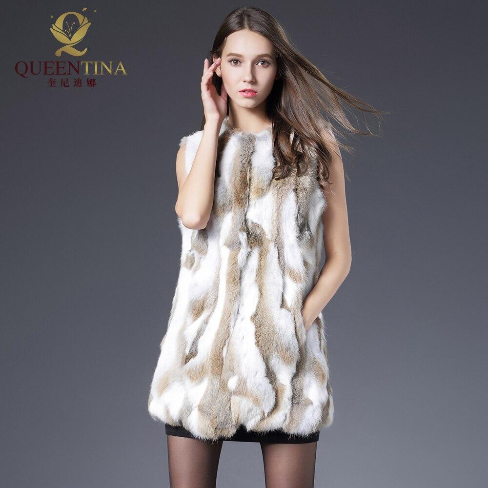 Сексуальный меховой жилет Для женщин кролика меховой жилет натуральный мех пальто для Для женщин зима-осень продажа бренда меховой жилет п...