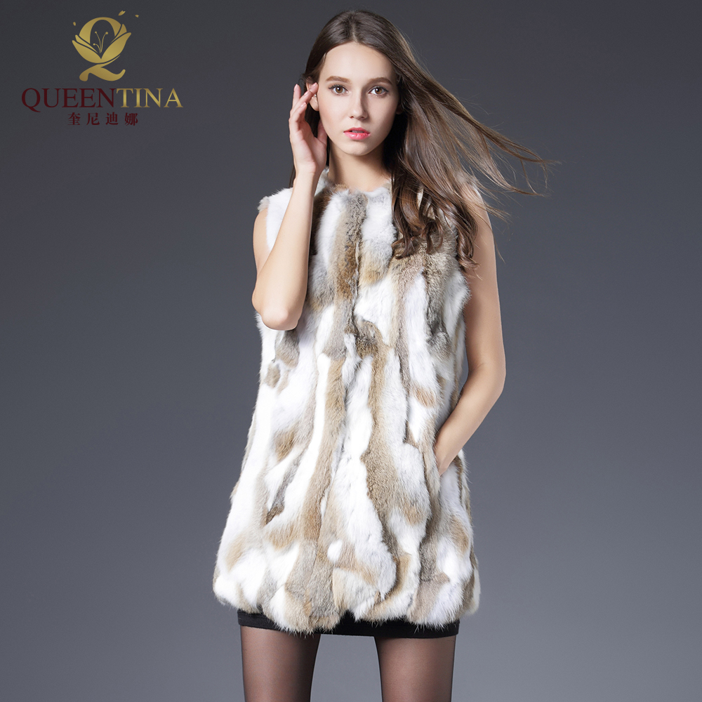 Sexy Fur Vest Kvinner Rabbit Fur Vest Real Fur Coat For Women Vinter Høst Brand Sale Fur Vest Coats Fashion Outwear High Quality