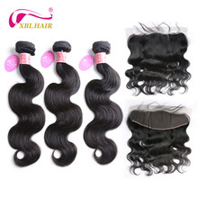 XBL HAIR Brazilian Body Wave Human Hair 3 Bundles Deal with 13*4 Lace Frontal Closure Remy Hair Natural Color Can be Dyed
