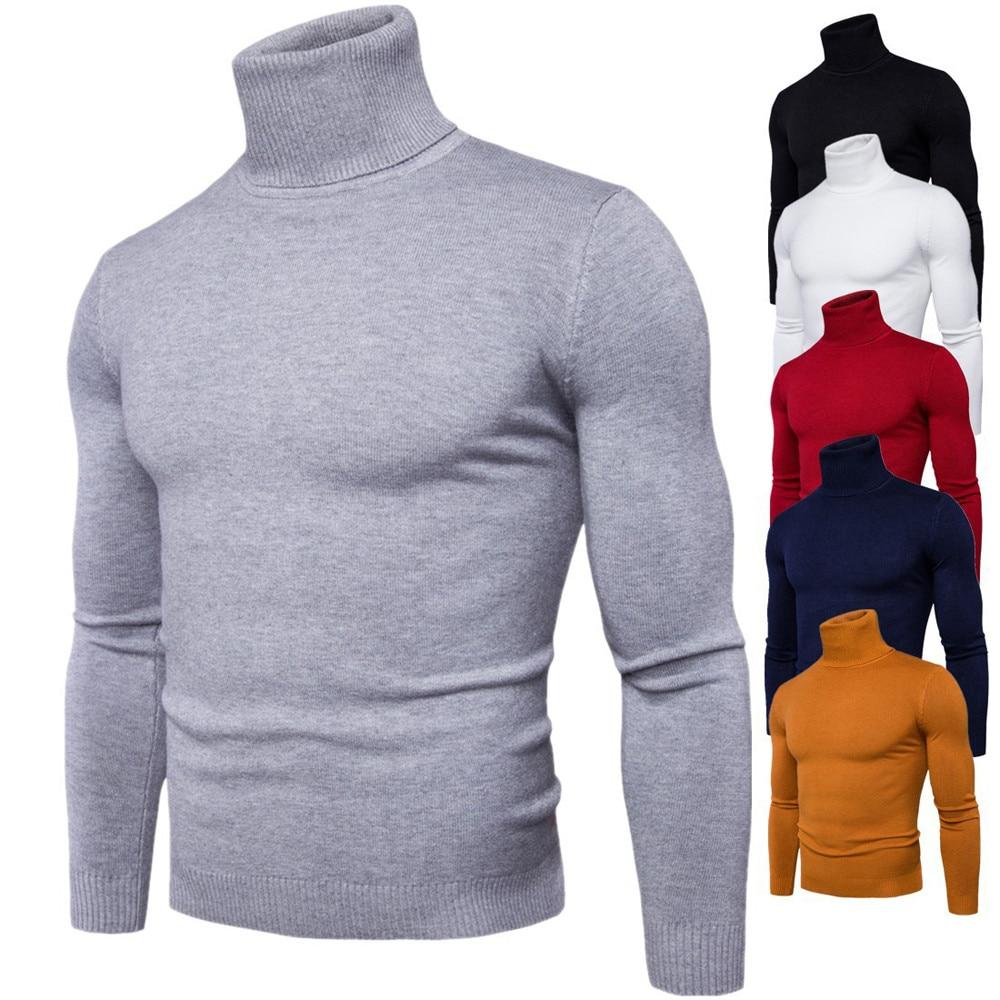 Men/'s Autumn Winter Turtleneck Long Sleeve Pullover Sweater Shirt Blouse Tops