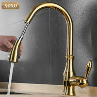 XOXO Kitchen Faucet Pull out Side Cold and Hot Single Hole Handle Swivel 360 Degree Water Mixer Tap Mixer Tap 83034G
