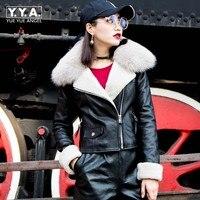 Зимние Модные женские с лисьим меховым воротником Короткие мото натуральная кожа Куртки из натуральной овчины Теплые байкерские Дубленки
