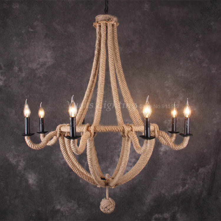 Retro Wrought Iron Pendant Lamp Contracted Rural Creative Restaurant Bedroom Hemp Rope Lights PLHR08 Free shipping free shipping candle lamp wrought iron restaurant bedroom chandeliers rural white candle wrought iron pendant led lights