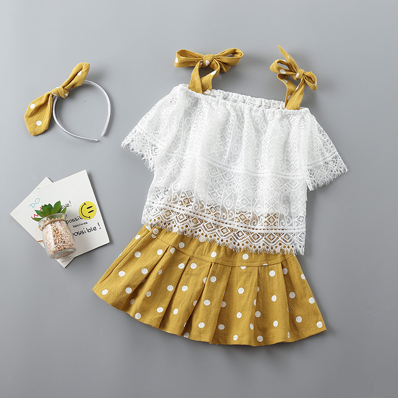2-7 years Prime quality woman clothes units 2019 new summer time informal lace bow Dot child youngsters woman clothes shirt+skirt+scarf 3pcs Clothes Units, Low cost Clothes Units, 2 7...