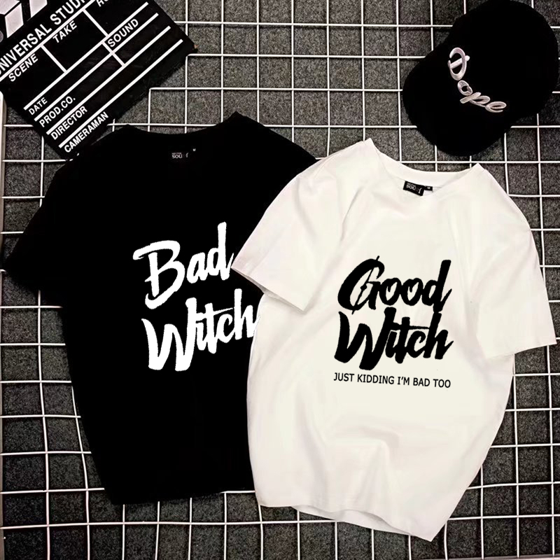 90acdd018 Couple T-shirt BAD WITCH GOOD WITCH Letter Printed Top Tee Shirt Femme Casual  Female
