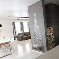 204pcs/set Creative 3D Wall Mirror Sticker Elegant Christmas Tree Decorations Home Interior Decorative Wall Living Room R115