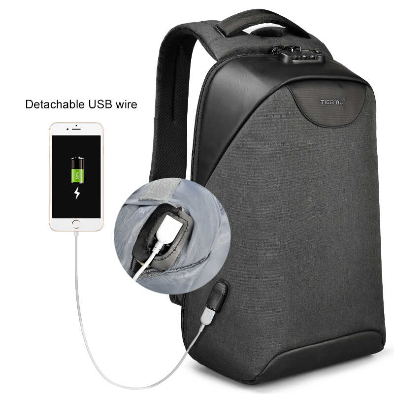 Никакой ключ Anti theft TSA замок моды Для мужчин 15,6 дюймов зарядка через USB ноутбук рюкзаки мужской женский 18L Универнситат школьный рюкзак для мальчиков