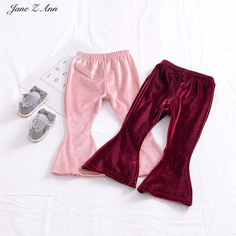 Jane Z Ann pants for girls 2 colors purple pink fashion flare velvet pants children kids autumn spring trouser clothes