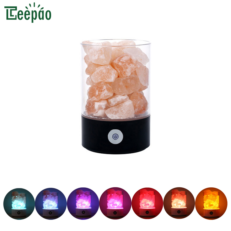 Himalayan Salt Lamp 7 Color Changing Pink Salt Rock Lamps Crystal Night Light With Touch Dimmer Switch tanbaby usb crystal salt night light himalayan crystal rock salt lamp air purifier night light touch dimmer switch creative gift