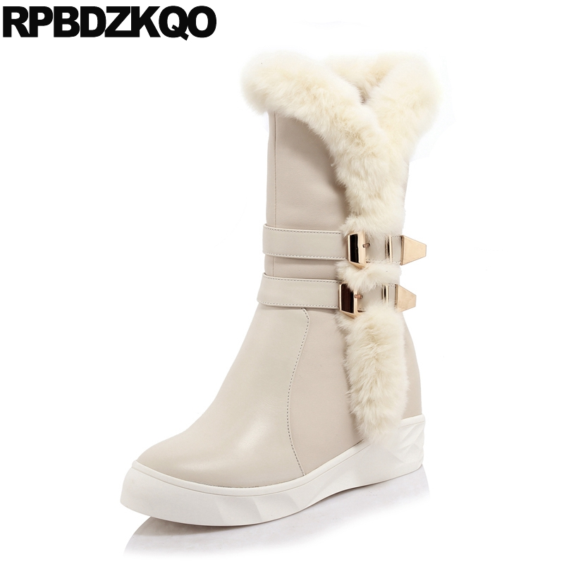Metal High Heel Snow Women Boots Winter 2017 Real Fur Mid Calf Wedge Platform Beige Round Toe Shoes Luxury Furry Fashion Short double buckle cross straps mid calf boots