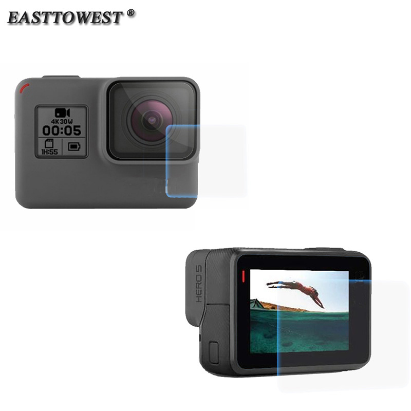 Easttowest For GoPro Hero 5 Accessories LCD Screen Film Protector + Lens Film Protector For Gopro Hero 7 6 5 аксессуар gopro hero 7 black aacov 003 сменная линза