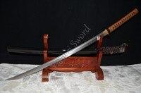 41 Folded Damascus steel CLAY TEMPERED IRON TSUBA JAPANESE SAMURAI SWORD KATANA REAL SHARP CAN CUT BAMBOO TREE GENUINE RAYSKIN