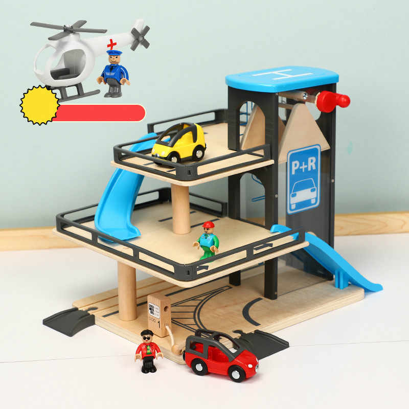 Автомобиль трек Лифты деревянный парковка Совместимость с Томас и Brio деревянная железная дорога детская инерционная рука раздвижные игрушки