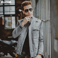 Men's pigskin real leather jacket gray Genuine Leather jacket motorcycle leather coat men