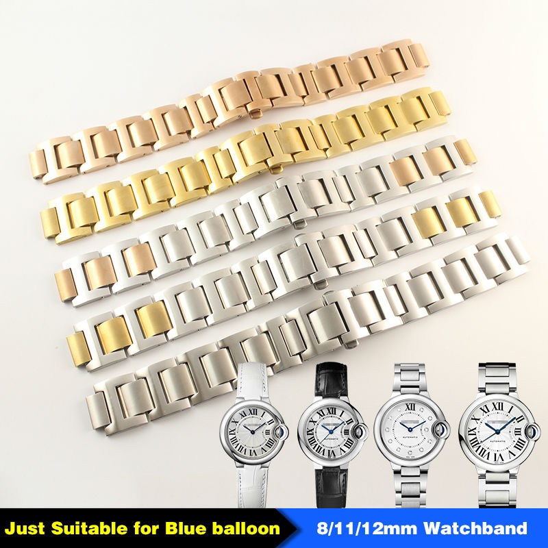 Stainless Steel Man Woman  Watch Band 15mm x 8mm 18mm x 11mm  20mm x 12mm for  Blue Balloon Strap Bracelet stylish 8 led blue light digit stainless steel bracelet wrist watch black 1 cr2016