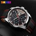 SKMEI Hombres Reloj Cronógrafo Reloj de Los Hombres 3ATM Impermeable Reloj de La Fecha de Cuero de Negocios de Lujo Relojes de Moda relogio masculino