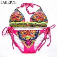 JABERNI brand bikini 2017 sexy swimsuit women swimwear padding summer bikinis beach wear bathing suits print bikini set RS093