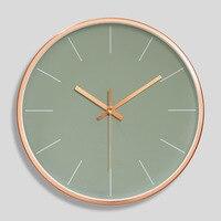 12 inç Gül Altın duvar saati Modern Minimalist Yuvarlak Saat Plastik duvar saati Sessiz Kuvars Saat Ev Süslemeleri
