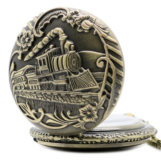 Vintage Bronze Train Front Locomotive Engine Necklace Quartz Pendent Railway Pocket Watch Chain Men Womens Gift