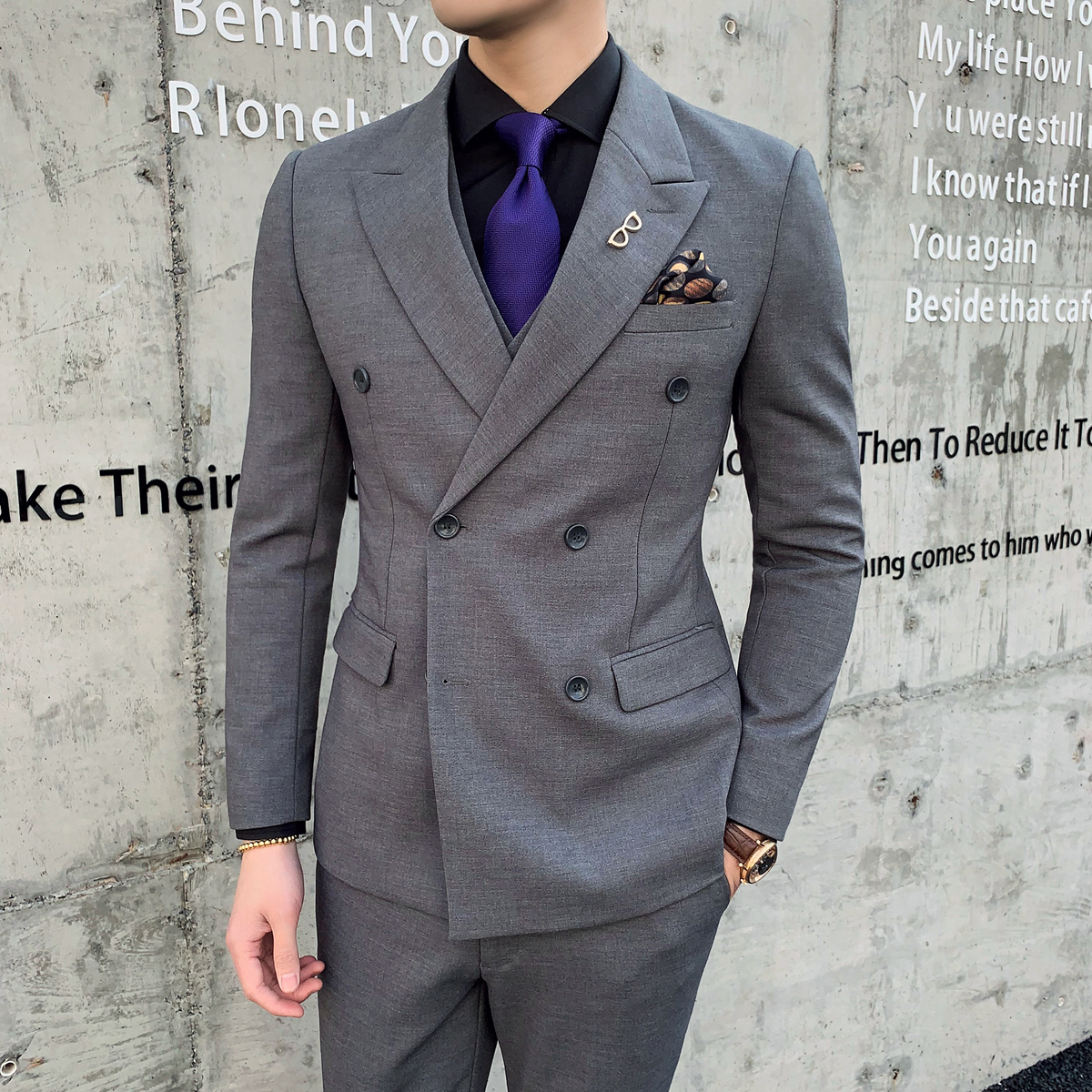 Jackets+Vest+Pants Suits Double-breasted Groom Wedding Dress Formal Suits Set High Quality Men Boutique Wool Casual Business