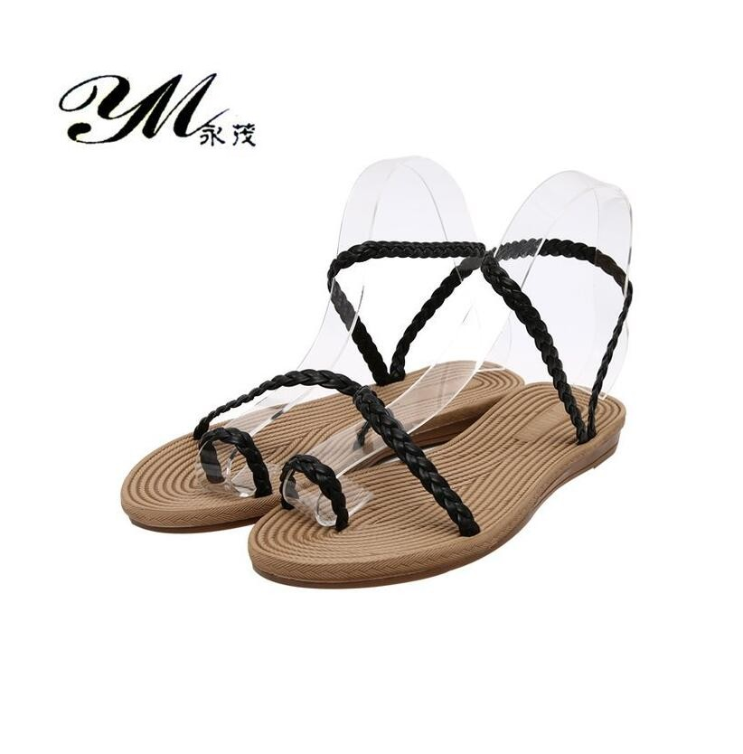 YM New Casual Women's Sandals Flat Beach Shoes Women Leather Weaving Sets of Toes Fashion Ladies Flat Sandals Non-slip Flip Flop