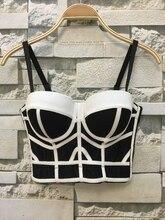 Mode Geometrische frauen Push Up Bustier Hochzeit Party Korsett Cropped Top Plus Größe 4 Farben S XL
