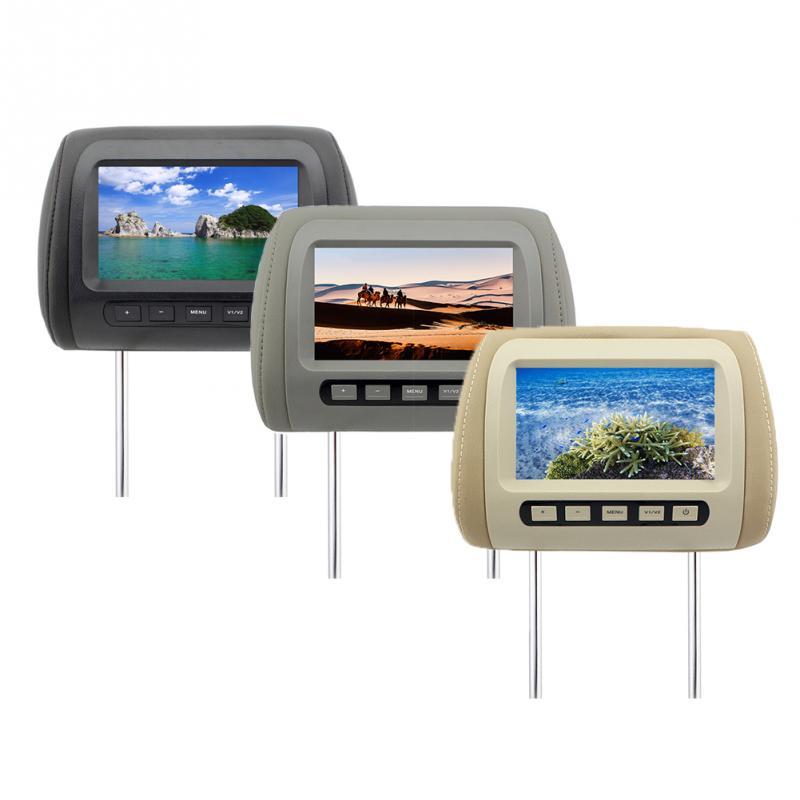 Universal 7 Inch Headrest Monitor TFT LED Screen Car MP5 Player DVD Seat Back Headrest Monitor Dual Input Built-in IR/FM Speaker