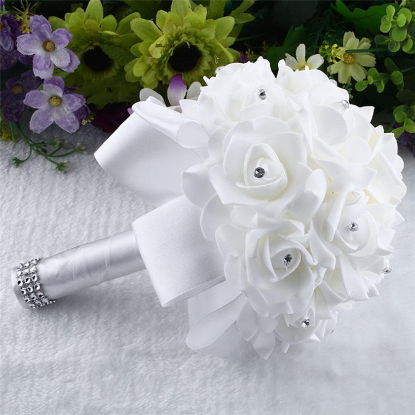D 5 high cost effective crystal roses pearl bridesmaid wedding d 5 high cost effective crystal roses pearl bridesmaid wedding bouquet bridal artificial silk flowers in artificial dried flowers from home garden on mightylinksfo Images