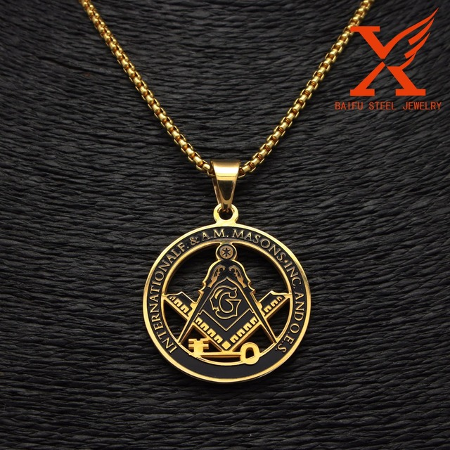 24 3MM Stainless Steel Gold Key Masonic Symbol Freemason Pendant