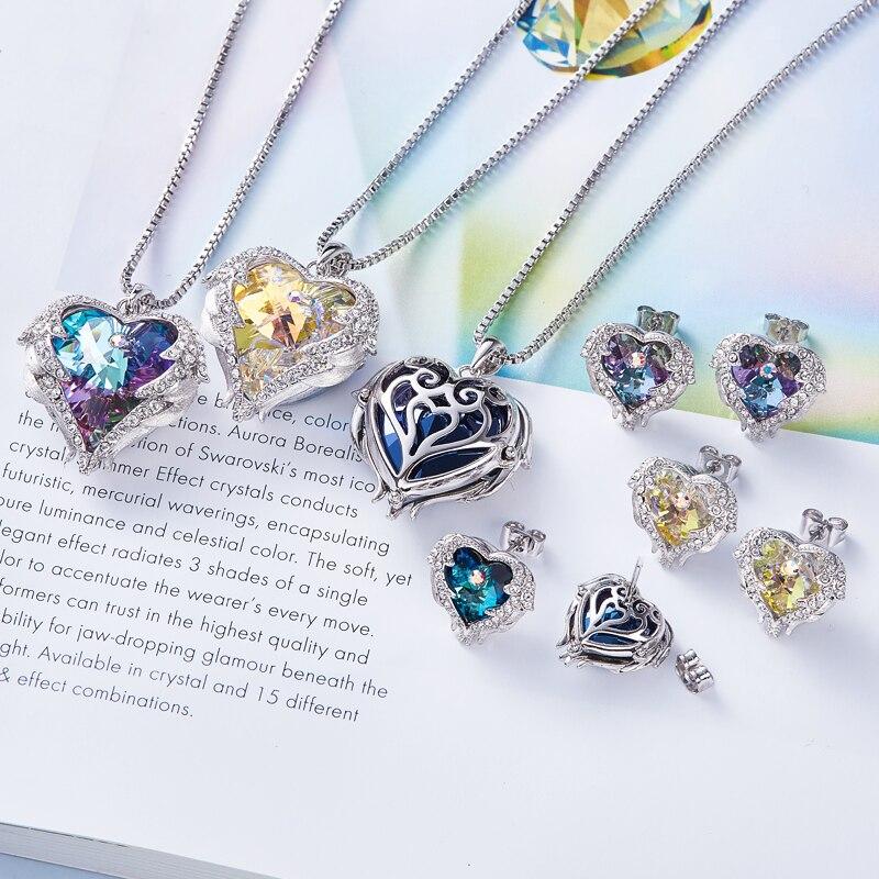 Cdyle cristales de Swarovski de alas de Ángel pendientes collares azul colgante de corazón de cristal conjunto de joyas para mujeres regalos de amor - 3
