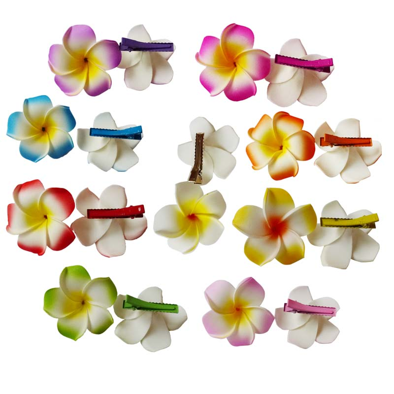 100 New fashion mixed color Fabulous Hawaii Plumeria flowers Foam Frangipani Flower hair clip bridal hair