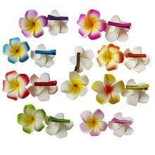100 Новая мода смешанные цвета сказочные Гавайи Плюмерия цветы мыло ФРАНЖИПАНИ цветок заколка для волос для невесты заколка для волос 8 см