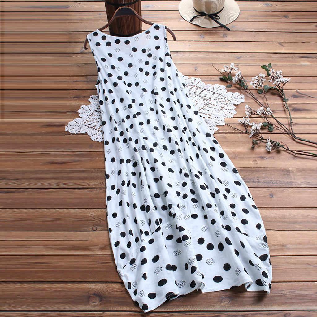 Seksowna sukienka damska letnia Polka nadruk w kropki bez rękawów luźna sukienka sukienka z okrągłym dekoltem plus rozmiar sukienka femme dropshipping