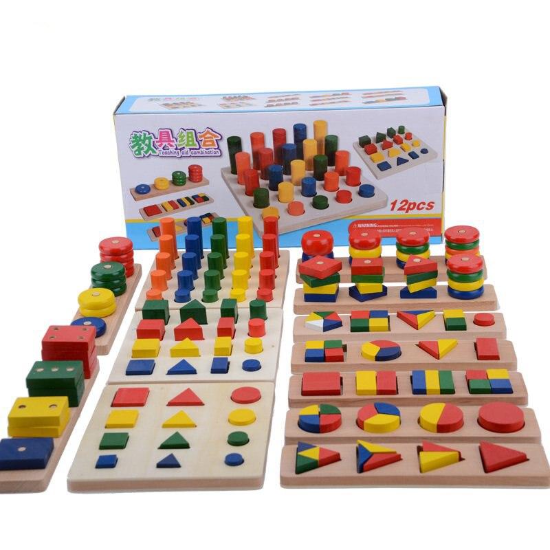Forma Geometria giocattolo di Legno di Quercia Bambino Precoce Educativo Montessori Insegnamento Giocattoli (12 tipi in un set))