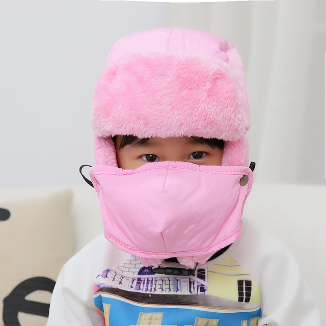 Super Warm Children Bomber Hats Winter Snow Cap Hat With Mask Earflap Hat  Kids Thicken With a1273265a7d0