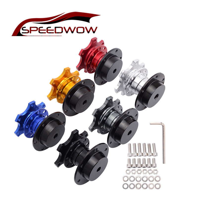 SPEEDWOW אוניברסלי הגה שחרור מהיר רכזת בוס ערכת גלגל Hub מתאם עבור 6 חור היגוי גלגל רכזת